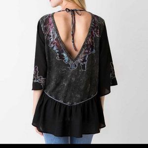 Gimmicks BKE Black Peplum Top edgy Plunging back